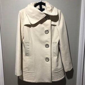Mackage | Cream Wool Cashmere Leather Peacoat S